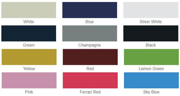 Bảng màu sắc xe điện kiểu dáng A627