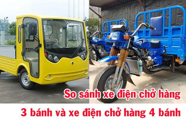 So sánh xe điện chở hàng 3 bánh và xe điện chở hàng 4 bánh